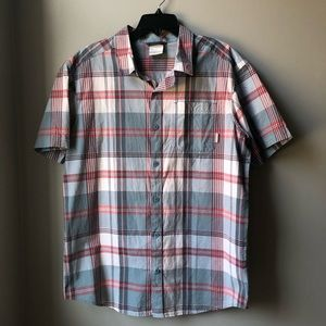 Columbia Blue & Red Plaid Shirt Size Large